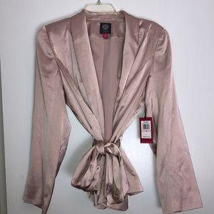 Vince Camuto Satin belted blazer rose buff size 10